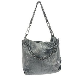 COACH Chain Strap Purse Bag Gray Silver Boho